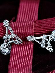 En argent sterling 925 mode coréenne boucles d'oreilles argent filles mignonnes tour de paris diamant sterling