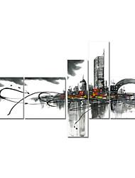 ручная роспись искусство декора стен черный белый городской маслом на холсте 5шт / комплект (без рамки)