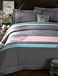 H&C 100% Cotton 800TC Duvet Cover Set 4-Piece Pink,Blue And Grey Solid Color Joint HZ2-009