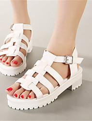 Women's Shoes Rubber Flat Heel Platform Sandals Casual Black/White