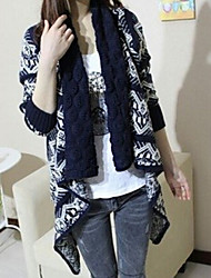 Women's Vintage Knit Hook Flower Big Lapel Loose Cardigan