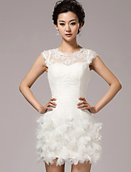 Sheath/Column Wedding Dress - White Short/Mini Jewel Lace