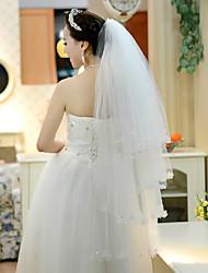 Wedding Veil Four-tier Fingertip Veils Lace Applique Edge