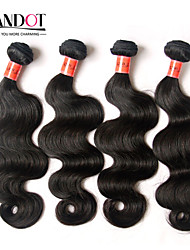 "4 Pcs Lot 8""-30""Brazilian Body Wave Virgin Remy Human Hair Extensions/Weave Bundles Natural Black Color 1B# Tangle Free"