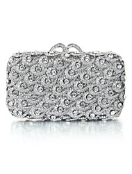 Miss Ricy Women's Dazzling Silver Plating Rhinestone Crystal Evening Bag