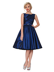 Cocktail Party Dress - Daffodil / Burgundy / Light Sky Blue / Clover / Purple / Ink Blue Plus Sizes A-line Bateau Knee-length Taffeta