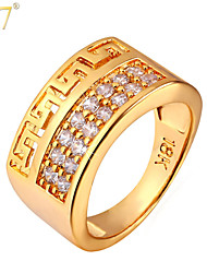 U7® Men's 18K Gold/Platinum Plated Zircons Fashion Rings Designs 6-11 Gold Men Jewelry Gifts G Vintage Band Rings
