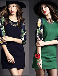 Women's Print / Patchwork Blue / Green Dresses , Bodycon Round ½ Length Sleeve