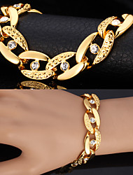 U7® Chunky Figaro Bracelets For Men  Women 18K Real Gold Plated Bangles Rhinestone Crystal Jewelry