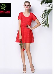 YIMILAN® Women's The New 2015 Red Net Cloth Dress With Short Sleeves