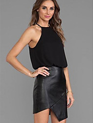 NUNEU   Women's Bodycon Strapless Sleeveless Dresses (Chiffon/Leather)