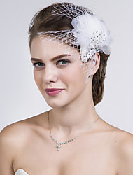 Women Feather/Net Flowers With Multi-stone Wedding/Party Headpiece