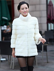 Women's Elegant Faux Fur Winter Jacket Warm Coat Black/White