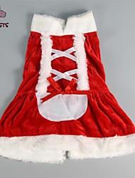 Gatos / Cães Vestidos Vermelho Inverno Laço Natal / Ano Novo