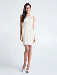 Lanting Bride Short / Mini Lace Bridesmaid Dress Sheath / Column One Shoulder Plus Size / Petite with Lace