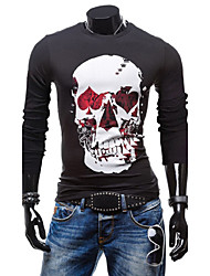 Men's Solid Casual / Formal T-Shirt,Cotton Long Sleeve-Black / White / Gray