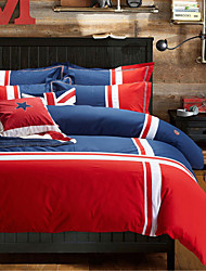 H&C 100% Cotton 900TC Duvet Cover Set 4-Piece Blue,Red and White Solid Color Joint  OT2-008