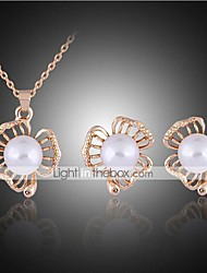 Lucky Doll Women's Vintage Rose Gold Plated mitation Pearl Zirconia Flower Necklace & Earrings Jewelry Sets