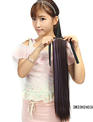 The New Dark Brown Dye  Colocasia Purple Rope Straight Hair Ponytail