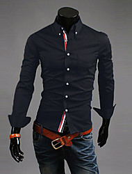Men's Solid Casual / Work / Formal Shirt,Polyester Long Sleeve Black / Blue / Red / White