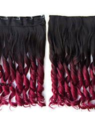 60cm qualité 140g 24 '' clip dans le extension de cheveux synthétiques bouclés cheveux ondulés prolongation b