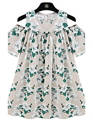 Women's Casual  Print Cute Plus Sizes Inelastic Short Sleeve Above Knee Dress (Linen)