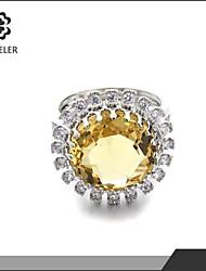 Sjeweler Lady Girls Beautiful Yellow Zircon Ring