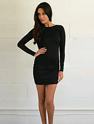 Women's Long Sleeved Waist Backless Dress