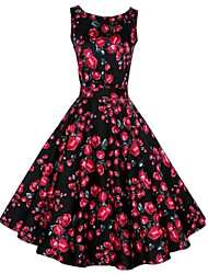 Women's Vintage/Party/Plus Sizes Flower Print 1950's Prom Swing  Dress (Polyester/Cotton Blends)