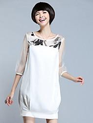 Women's Print/Solid/Patchwork Dress , Vintage/Print/Plus Sizes Round Neck ¾ Sleeve