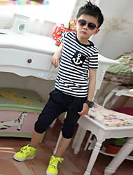 Boy's Cotton/Polyester Leisure Navy Style Stripe Short Sleeve Clothing Set