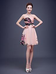 Brautjungfernkleid - Bonbonpink Polyester - A-Linie - knielang - trägerloser Ausschnitt
