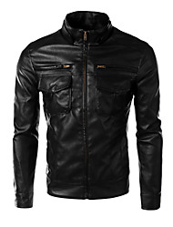 JOGAL Men's high Quality Trend PU Leather Jacket