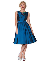 Cocktail Party Dress - Orange / Ruby / Ocean Blue / Dark Green / Brown / Grape Plus Sizes A-line Bateau Knee-length Taffeta