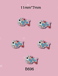 B696 11mm*7mm 10pcs/lot New 3D Metal Nail Art Jewelry Alloy Beauty Colorful Fish Shinning Rhinestones Charms