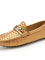 Men's Shoes Casual Leather Loafers Black/White/Gold