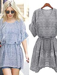 Women's Striped Blue / Black Dresses , Bodycon Round ½ Length Sleeve