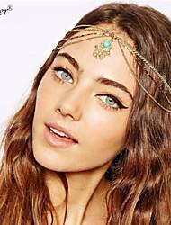 Euner® Angel Eyes Womens Hand Made Metal Head Chain Jewelry Headband Head Piece Indian Style Hair Band Jewelry