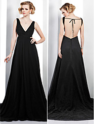 TS Couture® Formal Evening Dress - Beautiful Back Plus Size / Petite A-line V-neck Court Train Chiffon with Side Draping