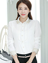 Women's Casual Beaded Hollow Out Long Sleeve Regular Shirt (Chiffon)