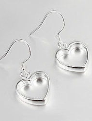 2015 Italy Style Heart Design Silver Plated Drop Earrings for Lady