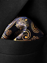 UH10 Shlax&Wing Paisley Black Gold Pocket Square Mens Ties Silk Hankies