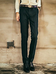 Men's Casual Formal Checks Suits Pants (Polyester)