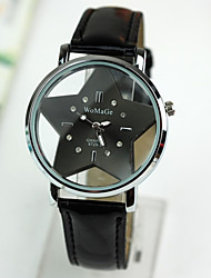 Women's  Watch The Hollow Transparent Double Glass Star Red Leather Strap Watch Cool Watches Unique Watches Fashion Watch
