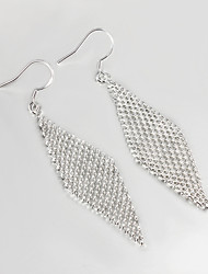 Hot Selling Wedding Dress Net Design Silver Plated Drop Earrings for Lady Wedding & Engagement Jewelry
