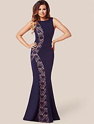 Women's Crochet Flower Sleeveless Gown Long Dress
