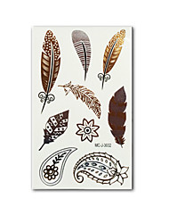 New Body Art Metallic Tattoos Women Feather Millipede Design Temporary Tattoo Gold Tatto Flash Tatoo Stickers