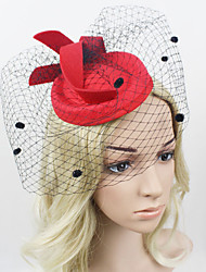 Women Satin/Net British Style Dots Hats/Birdcage Veils With Wedding/Party Headpiece Black/Red
