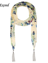 D Exceed  Women China Style Scarf Luxury Butterfly Floral Printed Chiffon Scarves with Silver Plated Tassel Scarfs