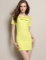 Women's Mini Dress , Polyester Yellow Casual